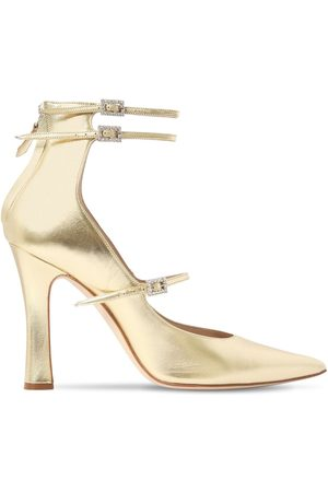 Alessandra Rich 105mm Mary Jane Metallic Leather Pumps