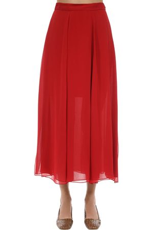 Max Mara Layered Silk Crepe Midi Skirt