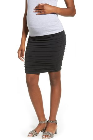 Angel Maternity Women's Over The Belly Ruched Maternity Skirt