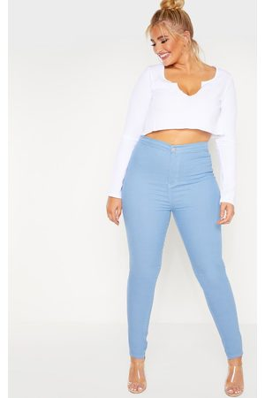PRETTYLITTLETHING Women Jeggings - Plus Mid Wash Stretch Jegging