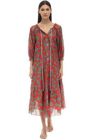 Borgo De Nor Women Printed Dresses - Natalia Floral Print Silk & Cotton Dress