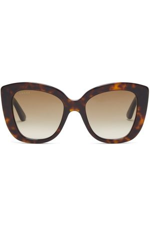 Gucci Women Square - Cat-eye Tortoiseshell-acetate Sunglasses - Womens