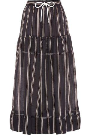 Lee Mathews Granada striped ramie skirt