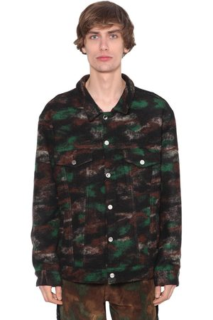 JUST DON Camouflage Wool Blend Trucker Jacket