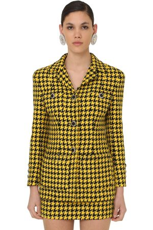 Alessandra Rich Women Blazers - Houndstooth Lacquered Button Jacket