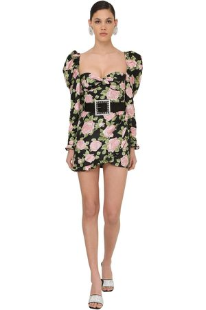 Alessandra Rich Printed Taffeta Mini Dress
