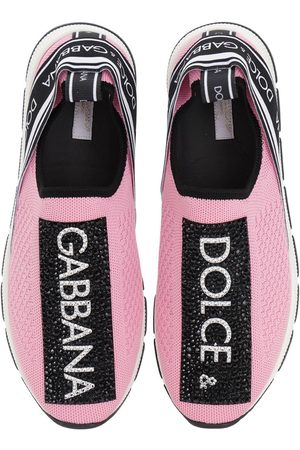 Dolce & Gabbana Knit Slip-on Sneakers W/ Logo