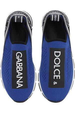 Dolce & Gabbana Logo Print Knit Slip-on Sneakers