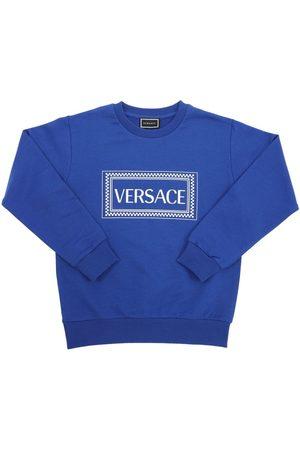 VERSACE Logo Print Cotton Sweatshirt