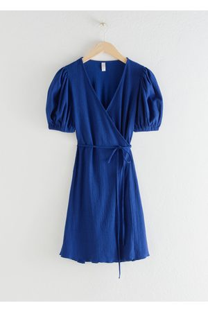 & OTHER STORIES Puff Sleeve Ribbed Mini Wrap Dress