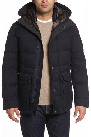 Cole Haan Men's Faux Fur Trim Mixed Media Hooded Down Jacket