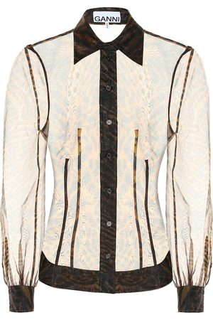 Ganni Printed sheer organza shirt