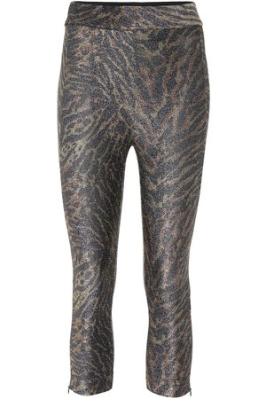 Ganni Women Leggings - Tiger-print lurex jersey leggings