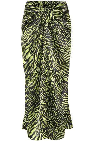 Ganni Tiger-print stretch-silk midi skirt