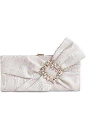 Roger Vivier Broche Drape Clutch W/ Embellished Bow