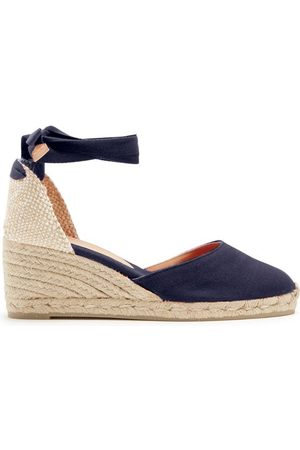Castaner Women Wedges - Carina 60 Canvas & Jute Wedge Espadrilles - Womens - Navy