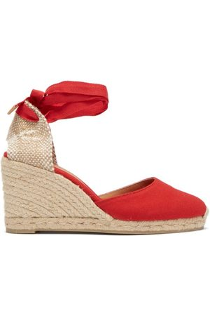 Castaner Women Sandals - Carina 80 Canvas & Jute Espadrille Wedges - Womens