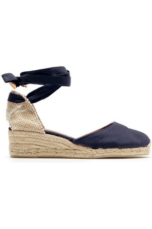 Castaner Women Wedge Sandals - Carina 30 Canvas & Jute Espadrille Wedges - Womens - Navy
