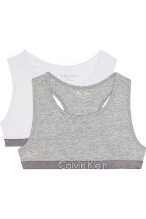 Calvin Klein Logo cotton-blend bralette set of two