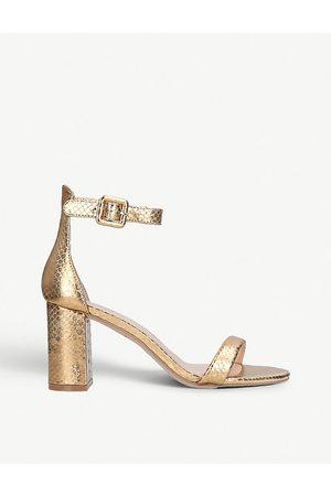 Kurt Geiger Langley metallic crocodile-embossed leather sandals