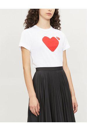 Comme des Garçons Heart-appliquéd cotton-jersey T-shirt