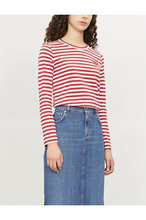 Comme des Garçons Heart patch striped cotton-jersey top