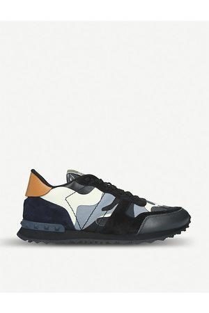 VALENTINO GARAVANI Camouflage studded-heel leather trainers