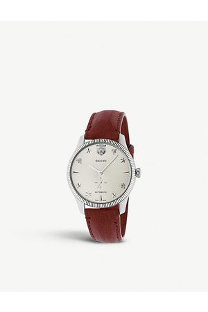 Gucci YA126346 G-Timeless stainless steel and leather watch