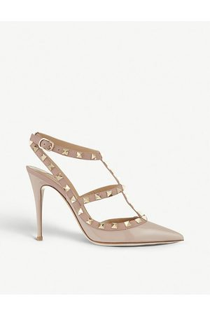 VALENTINO GARAVANI Rockstud patent leather heels, Women's, Size: EUR 41 / 8 UK WOMEN, Nude