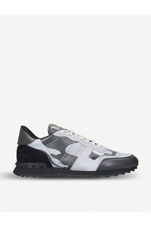 VALENTINO GARAVANI Mens Leather Camouflage Rockrunner Sneakers, Size: 5