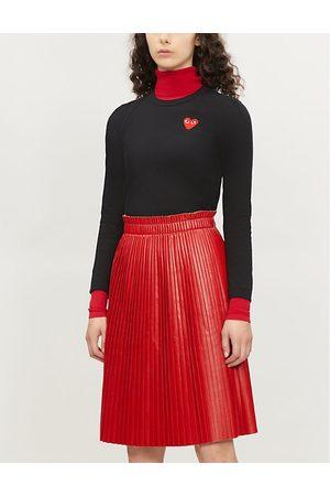 Comme des Garçons Ladies Heart-Appliquéd Cotton-Jersey Top