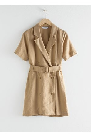& OTHER STORIES Belted Linen Trench Mini Dress