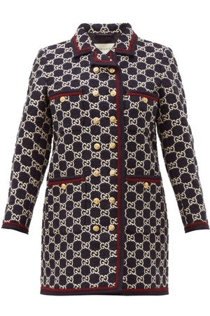 Gucci Gg Monogram Tweed Single Breasted Coat - Womens - Navy Multi