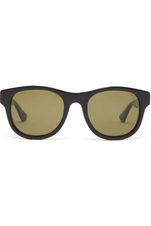 Gucci Web Stripe-arms Square Acetate Sunglasses - Mens