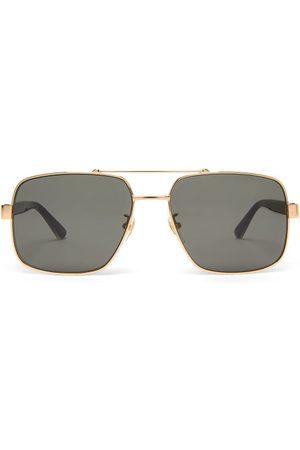 Gucci Men Aviators - Web-stripe Aviator Metal Sunglasses - Mens