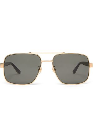 Gucci Men Aviators - Web-striped Aviator Metal Sunglasses - Mens