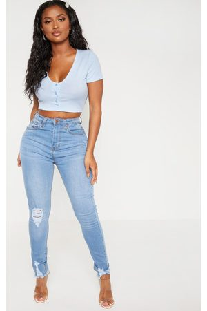 PRETTYLITTLETHING Shape Light Wash High Waisted Distressed Cuff Jeans