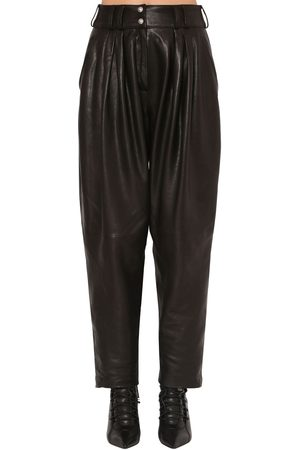 Balmain Pleated Leather Pants