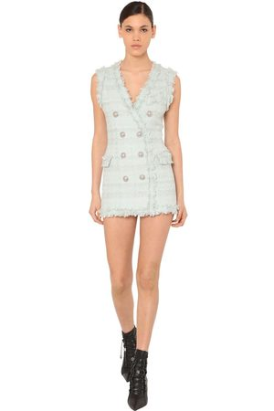Balmain Women Party Dresses - Fringed Double Breast Tweed Mini Dress