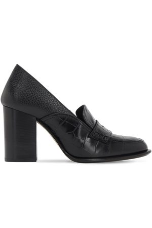 Loewe 85mm Embossed Croc Leather Loafers