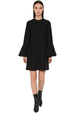 Valentino Couture Ruffled Sleeves Crepe Mini Dress