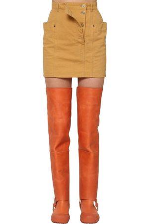 Jacquemus High Waist Cotton Denim Mini Skirt