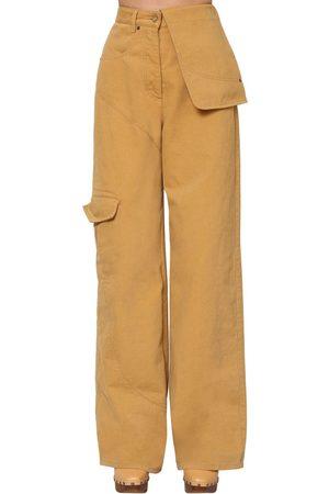 Jacquemus High Waist Cotton Denim Cargo Pants