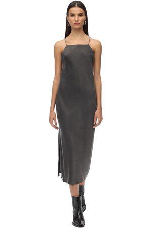 RE/DONE Back Crossed Silk Satin Midi Dress