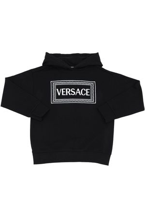 VERSACE Embroidered Cotton Sweatshirt Hoodie
