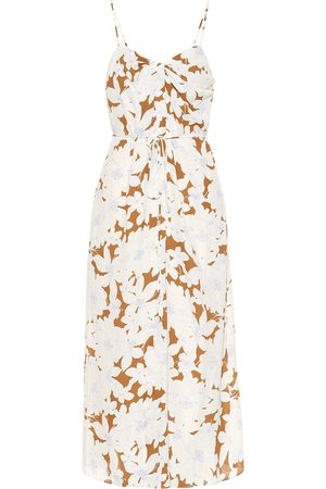 Vince Floral crêpe midi dress