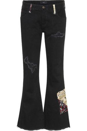 Alanui Distressed mid-rise flared jeans