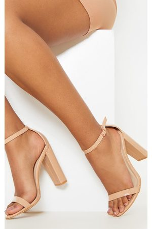 PRETTYLITTLETHING May Nude Patent Block Heeled Sandals