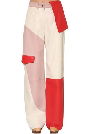 Jacquemus High Waist Patchwork Leather Cargo Pants