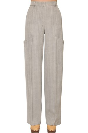Jacquemus Wide Leg Viscose & Silk Canvas Pants